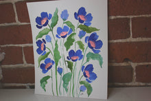 Load image into Gallery viewer, Deep blue watercolor floral original painting handmade artwork