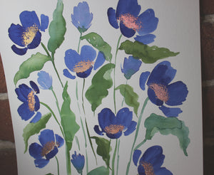 Deep blue watercolor floral original painting handmade artwork