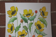 Load image into Gallery viewer, Yellow watercolor floral original painting handmade artwork