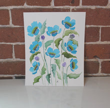 Load image into Gallery viewer, Teal and purple watercolor floral original painting handmade artwork