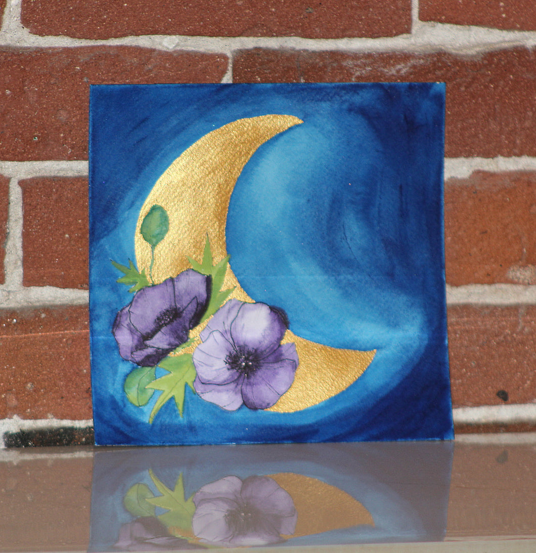 Original watercolor painting blue sky and purple flower adorned metallic moon