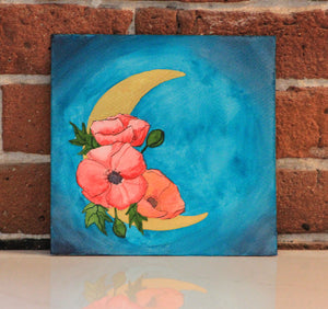 Original watercolor painting of red orange poppy flower adorned metallic moon