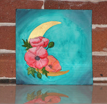 Load image into Gallery viewer, Original watercolor painting of red orange poppy flower adorned metallic moon