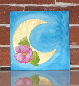 Original watercolor painting of pink flower adorned metallic moon with vibrant cyan blue sky