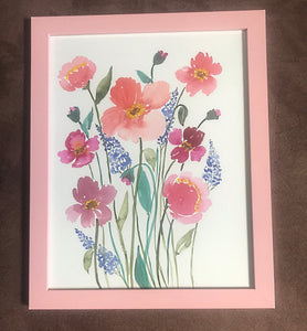 Large Pink Floral Original Watercolor Painting