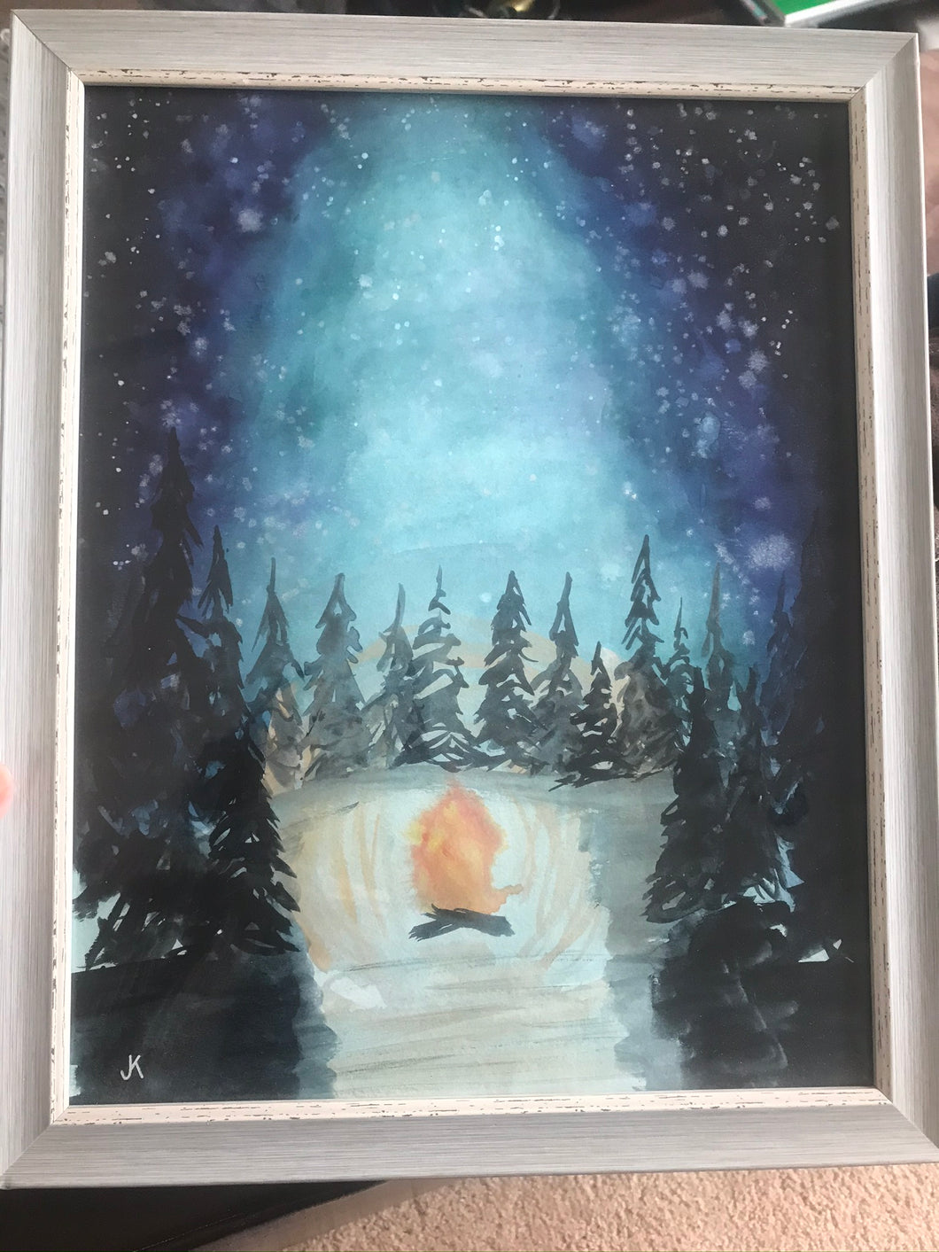 Custom - Large Campfire under night sky original watercolor painting