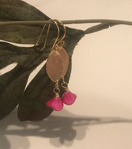 Handmade brushed brass and pink bell flower earrings