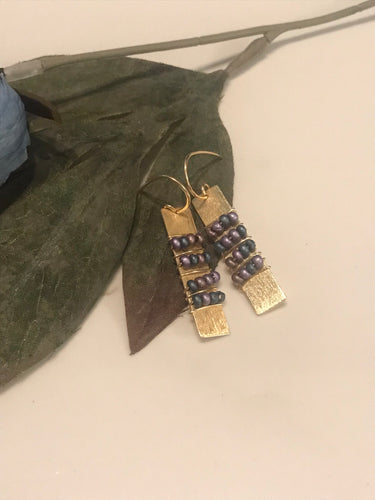 Handmade brushed brass bar and colorful seed bead wrapped earrings