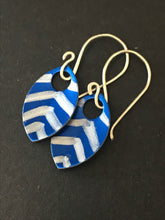 Load image into Gallery viewer, Blue Scale and Chevron Earrings