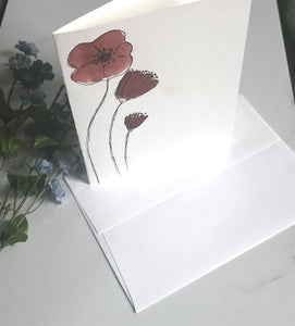Original Red Flower Watercolor Card hand painted