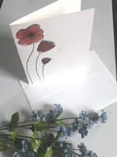 Load image into Gallery viewer, Original Red Flower Watercolor Card hand painted