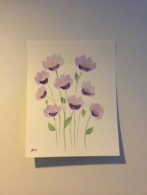 Original Watercolor Painting Purple and Gold Flowers 11 x 14 inches with or without frame