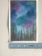 Load image into Gallery viewer, Colorful Night Sky with duochrome trees - Original Watercolor Painting