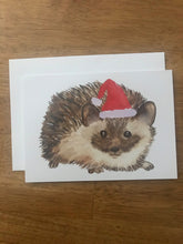 Load image into Gallery viewer, Watercolor Christmas Hedgehog Holiday Card
