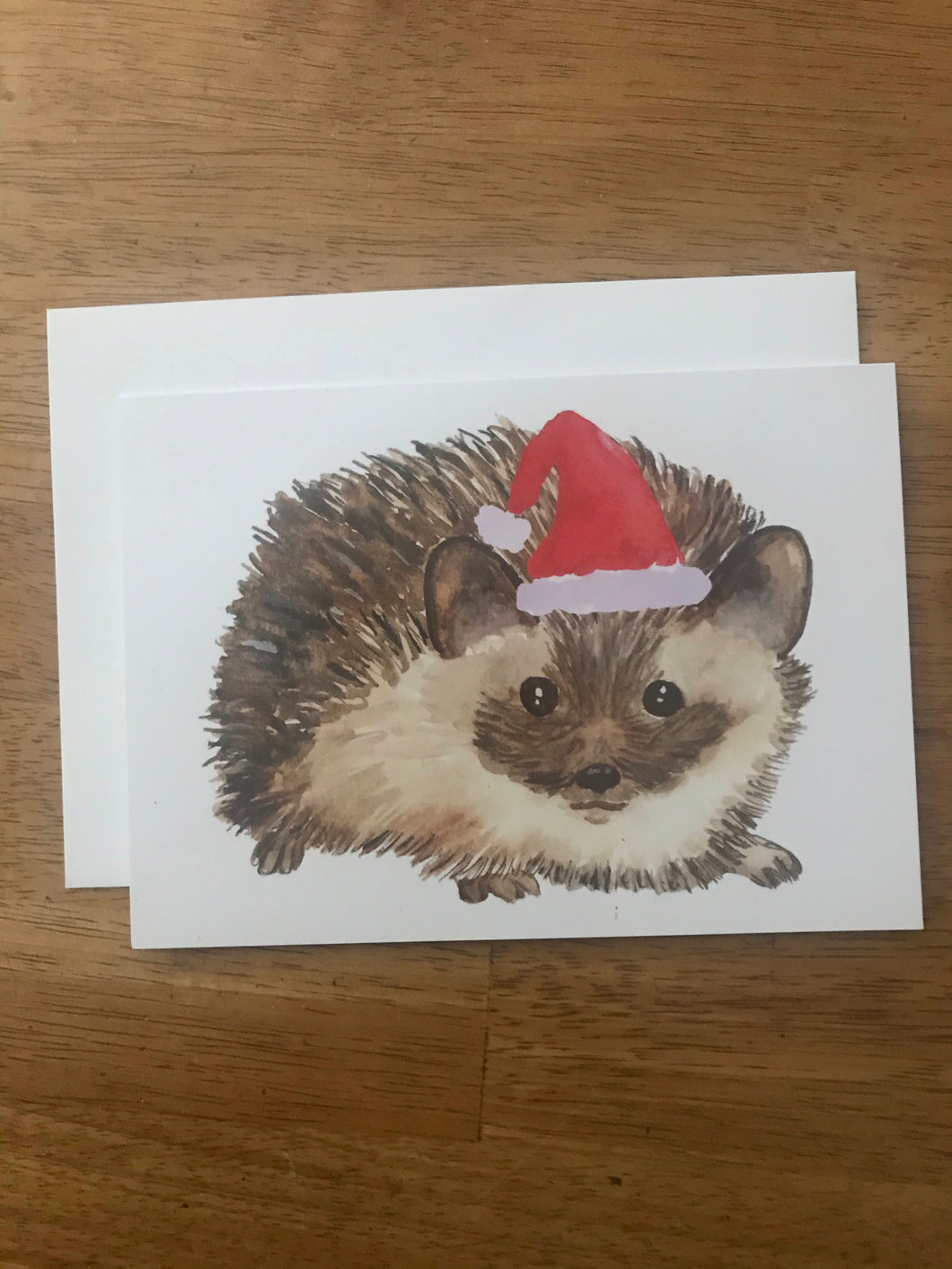 Watercolor Christmas Hedgehog Holiday Card