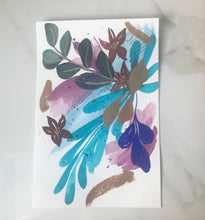 "Load image into Gallery viewer, Abstract floral original watercolor painting 9""x6"""