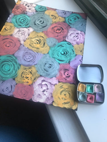 "Original watercolor painting shimmery roses on black watercolor paper 9""x12"" for Jessica"