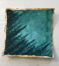 Load image into Gallery viewer, Original watercolor painting handmade paper night sky with trees 8 inches by 8 inches