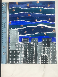 City Night Skyline Watercolor Collage Original Painting