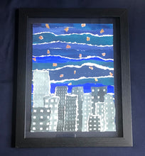 Load image into Gallery viewer, City Night Skyline Watercolor Collage Original Painting