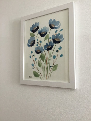 Original Watercolor Blue Flower and Gold Painting