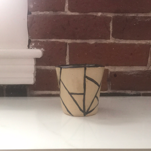 Handmade ceramic cup or pencil holder with fun abstract lines