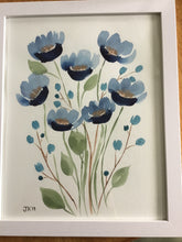 Load image into Gallery viewer, Original Watercolor Blue Flower and Gold Painting
