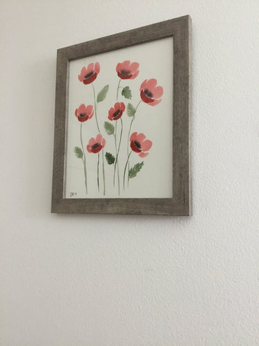 Original Watercolor Poppy Painting 8 x 10 (Medium)