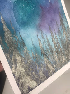 Colorful Night Sky with duochrome trees - Original Watercolor Painting
