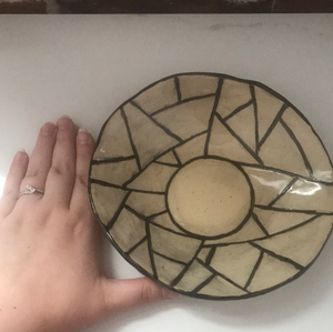 Handmade shallow bowl/plate with fun abstract pattern