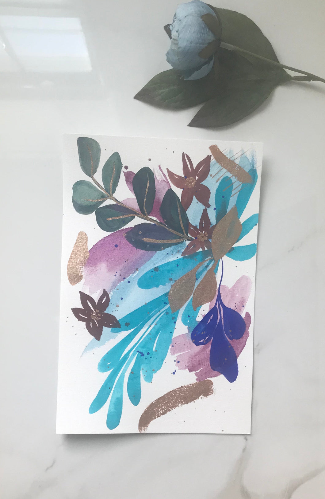 "Abstract floral original watercolor painting 9""x6"""