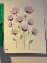 Load image into Gallery viewer, Original Watercolor Painting Purple and Gold Flowers 11 x 14 inches with or without frame