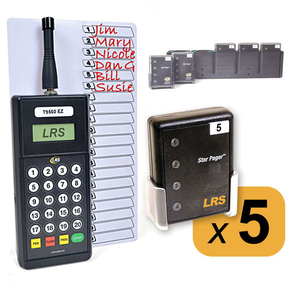 5 Server Pager Restaurant Pager Kit KIT-STAFF5 by Long Range Systems