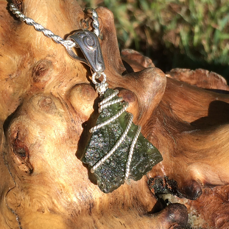Mens Moldavite Sterling Silver Wire Pendant Natural