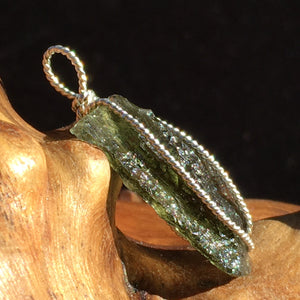 Large Mens Moldavite Ring Sterling Silver Rough Natural