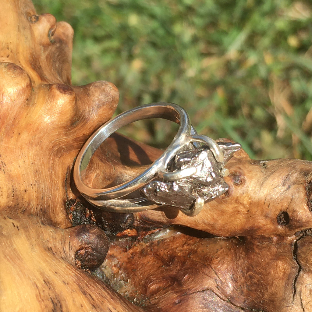 Woman's Meteorite Ring Sterling Silver Campo Del Cielo