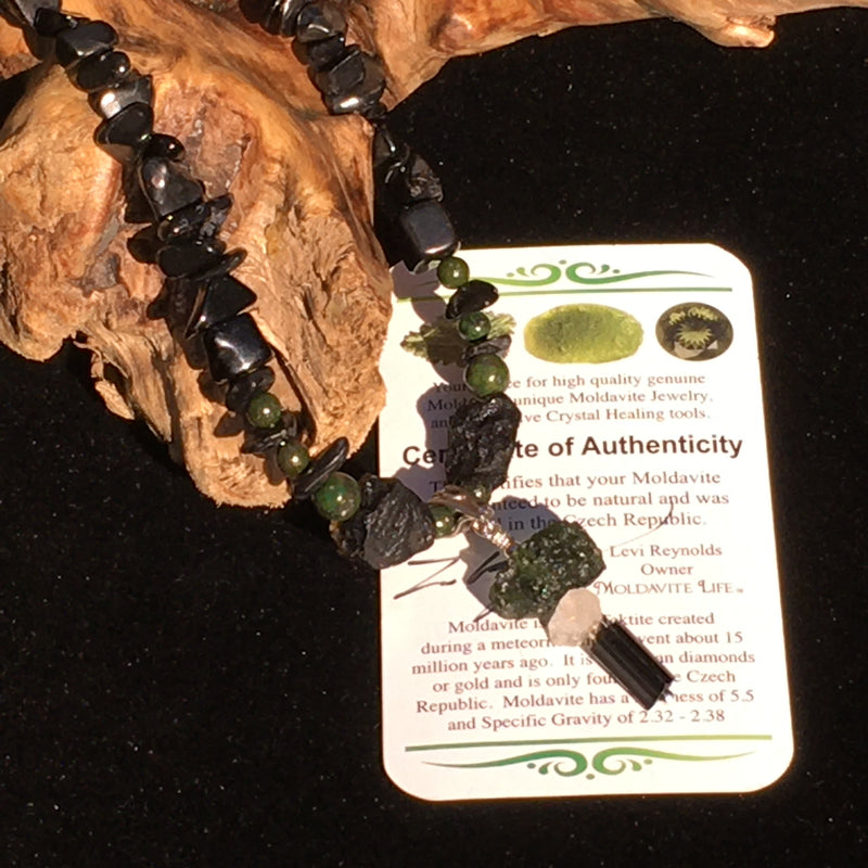 Moldavite Phenacite Tourmaline Shungite Obsidian Beaded Necklace