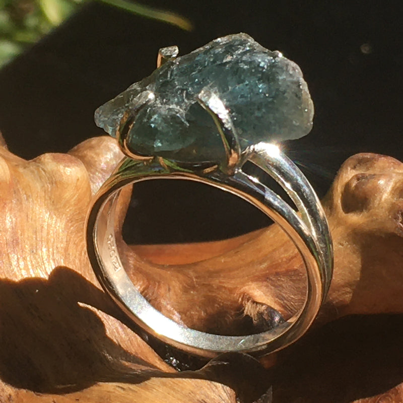 Blue Tourmaline Ring Sterling Silver Natural Crystal-Moldavite Life