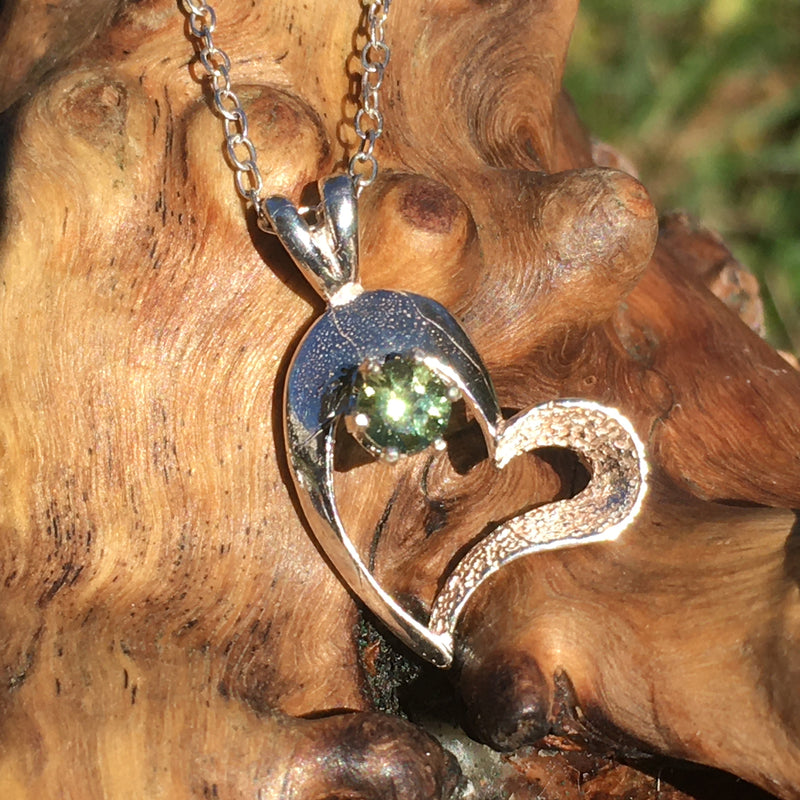 Moldavite Heart Pendant Necklace Sterling Silver Certified