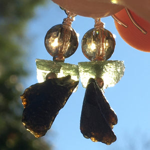 Moldavite Citrine Tektite Bead Silver Dangle Earrings