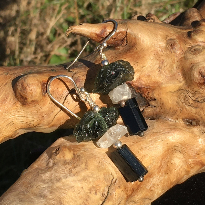 Moldavite Phenacite Tourmaline Sterling Silver Bead Earrings
