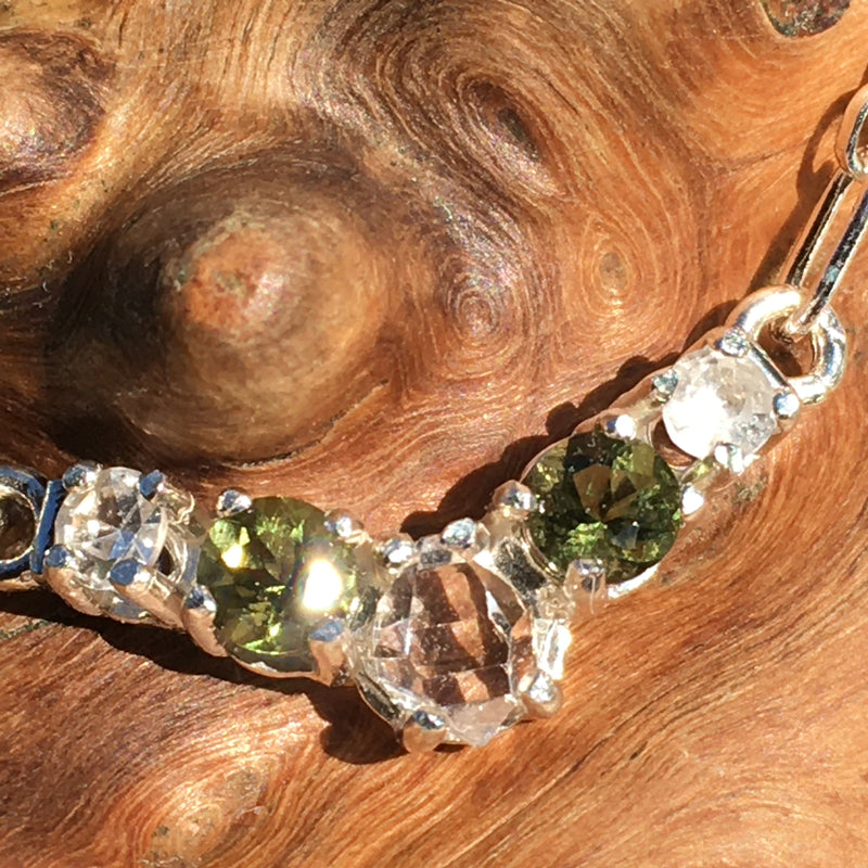 Faceted Moldavite Phenacite Herkimer Silver Necklace-Moldavite Life
