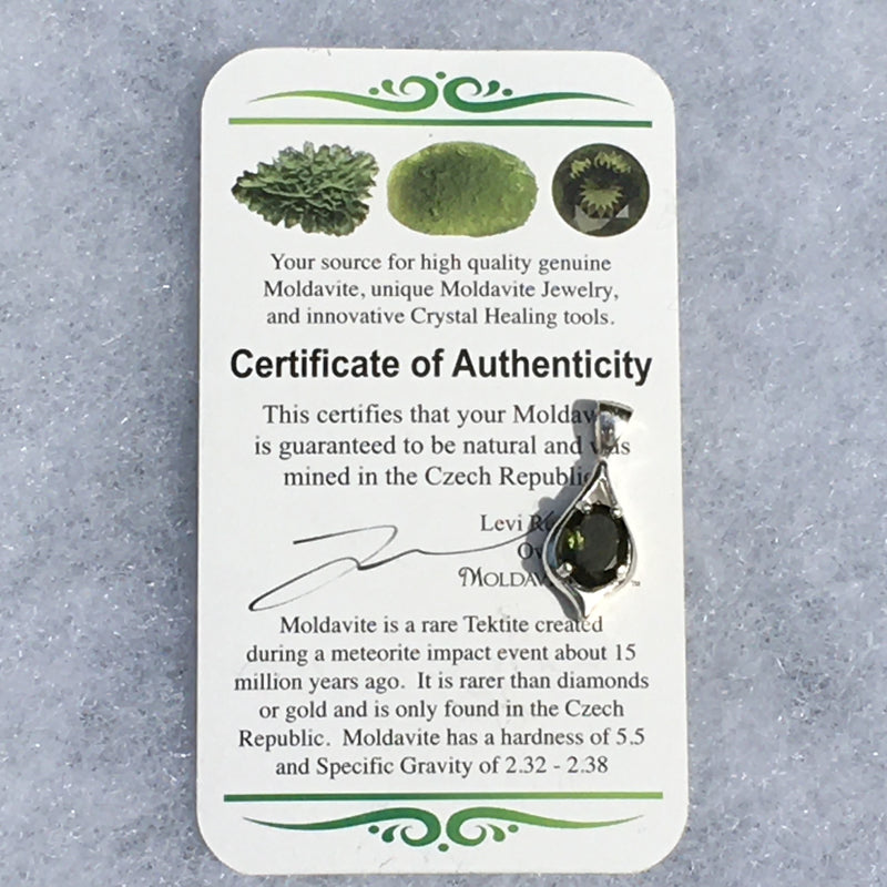 Moldavite Pendant Faceted Oval Gem Sterling Silver
