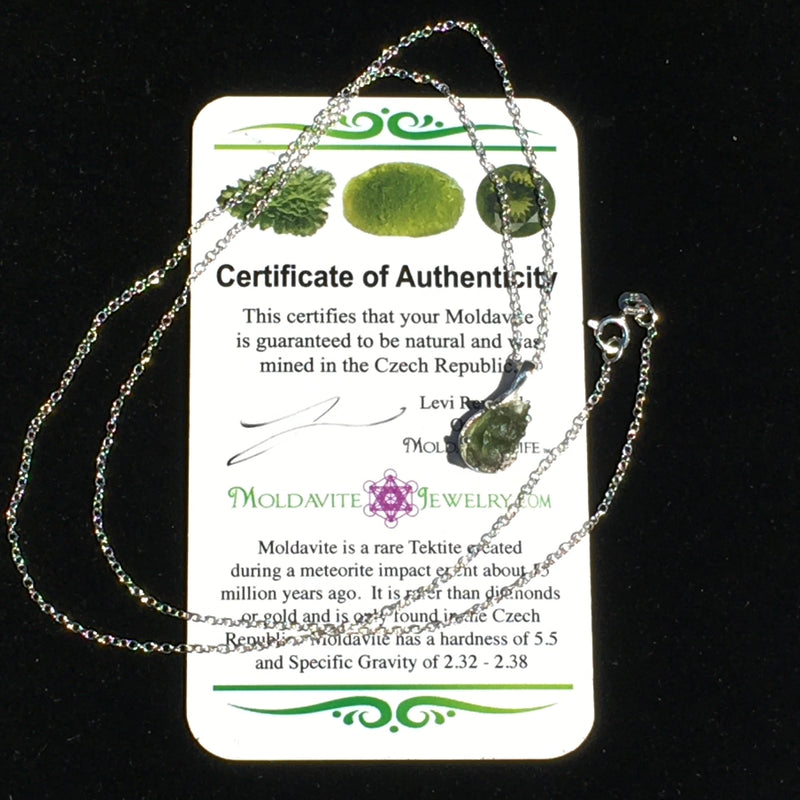Raw Moldavite Drop Necklace Small Sterling Natural Certified