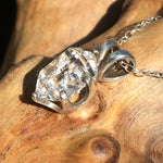 Womens Herkimer Diamond Crystal Pendant Silver Necklace-Moldavite Life