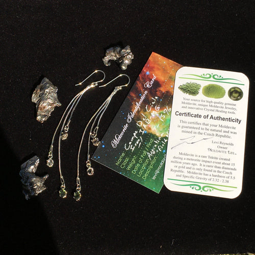 Moldavite Herkimer Meteorite Sterling Silver Dangle Earrings-Moldavite Life