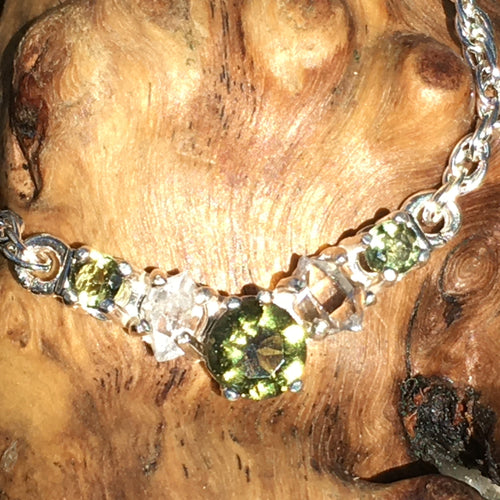 Silver Moldavite Herkimer Diamond Crystal Necklace