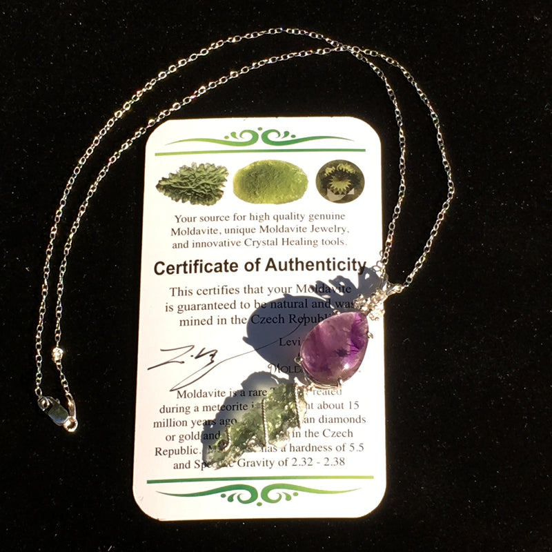 Silver Melody Super 7 Herkimer Diamond Moldavite Crystal Necklace-Moldavite Life