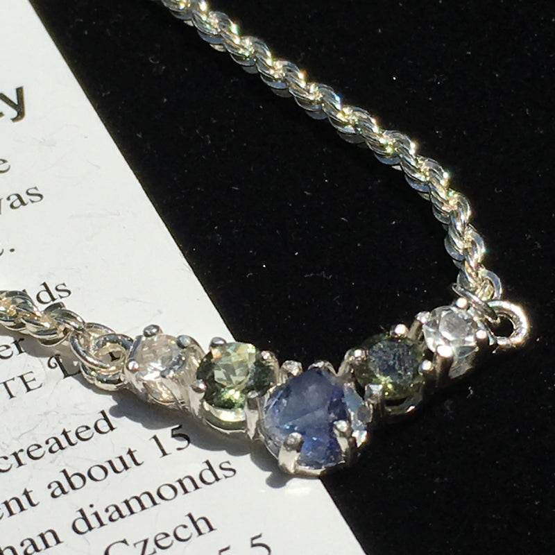 Custom Faceted Moldavite Phenacite Benitoite Silver Necklace-Moldavite Life