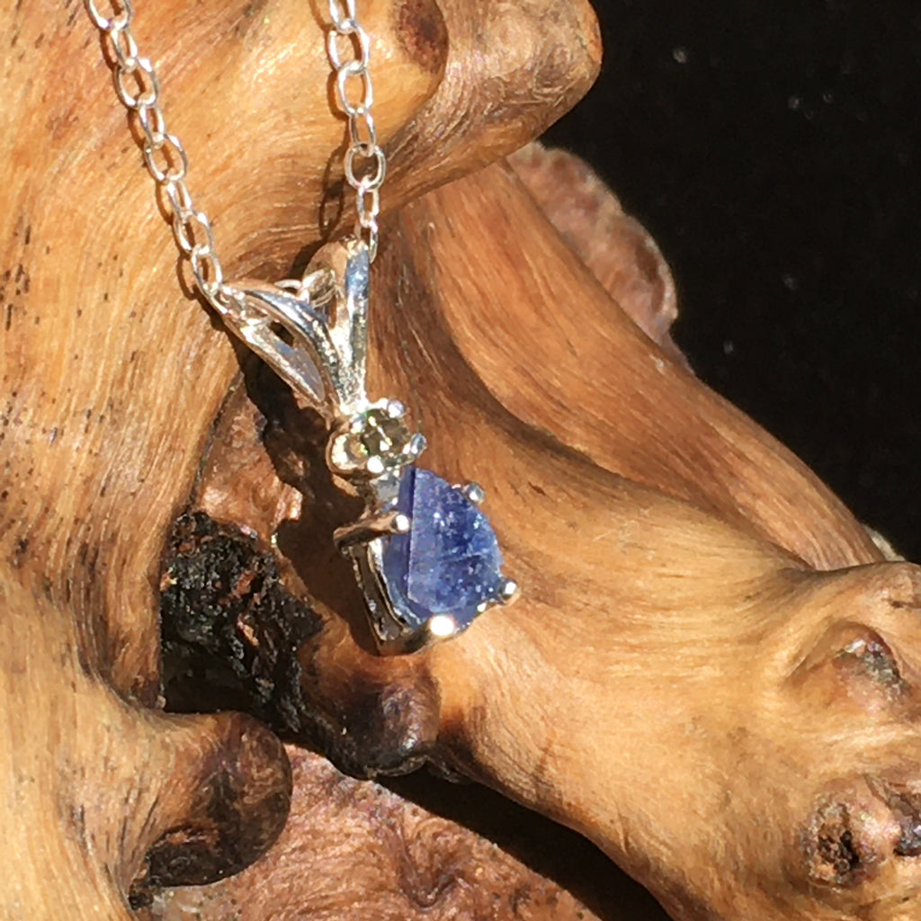 Benitoite Moldavite Crystal Pendant Necklace Sterling Silver